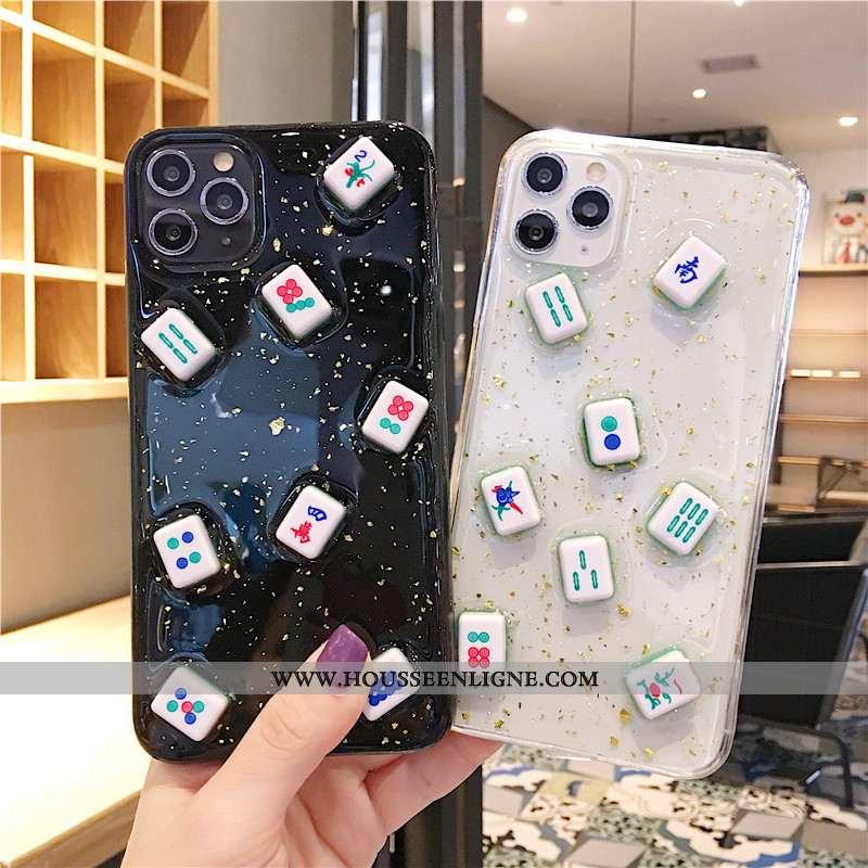 Coque iPhone 11 Pro Transparent Fluide Doux Noir Silicone Étui Dimensionnel Téléphone Portable