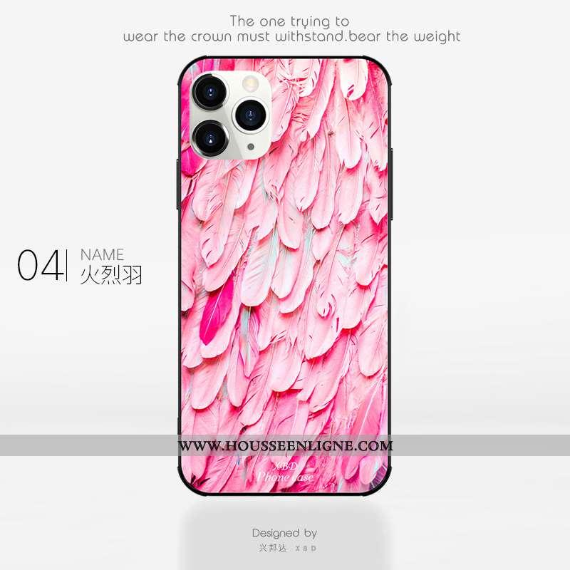Coque iPhone 11 Pro Verre Tendance Clair Étui Net Rouge Silicone Rose