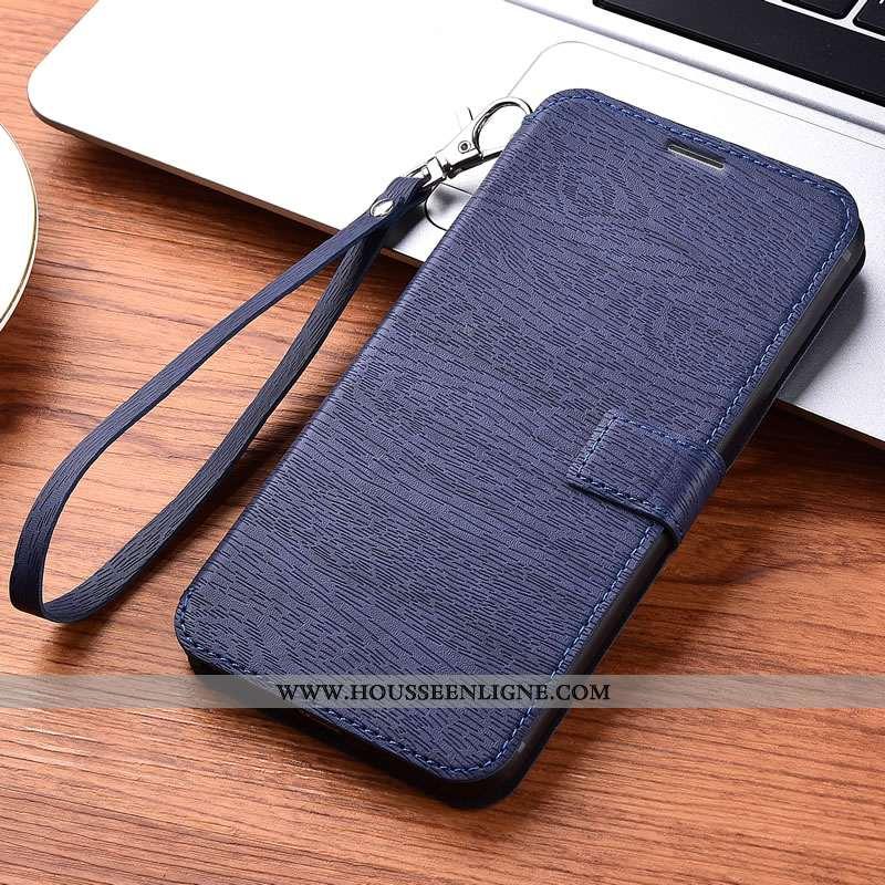 Coque iPhone 11 Protection Portefeuille Fluide Doux Étui Bleu Cuir