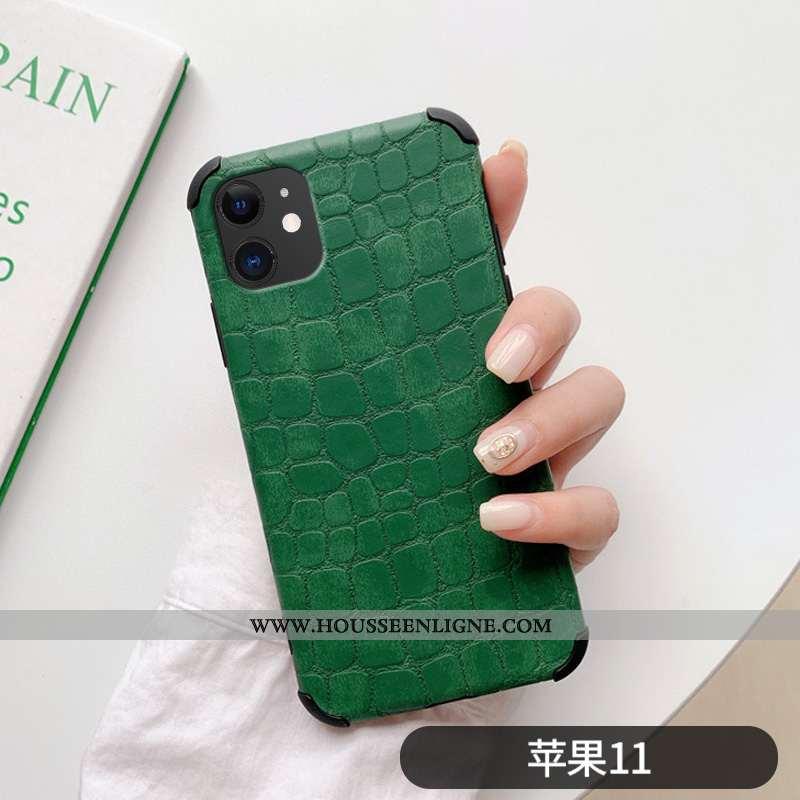 Coque iPhone 11 Ultra Légère Personnalité Crocodile Amoureux Net Rouge Simple Verte