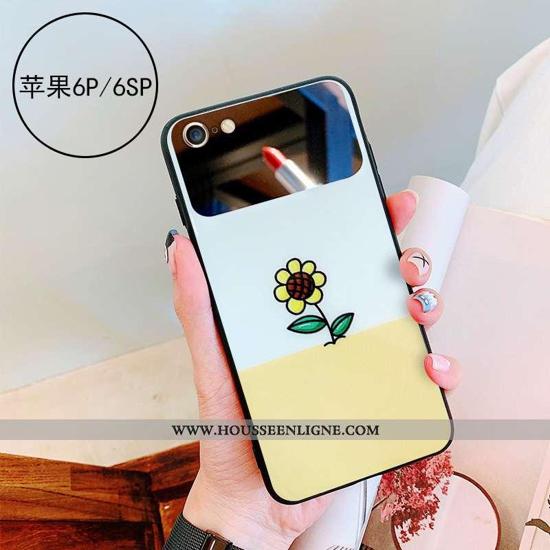 Coque iPhone 6/6s Plus Verre Personnalité Téléphone Portable Jaune Étui Miroir