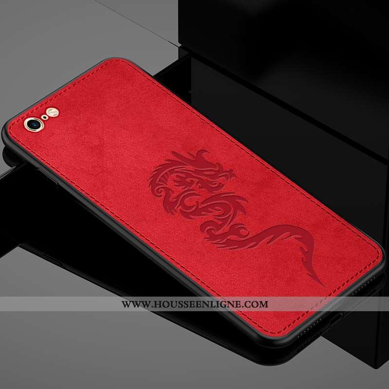 Coque iPhone 6/6s Protection Délavé En Daim Créatif Tissu Rouge Refroidissement Légère