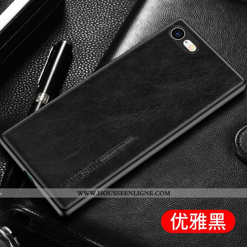 Coque iPhone 7 Créatif Cuir Véritable Luxe Cuir Modèle Fleurie Business Noir