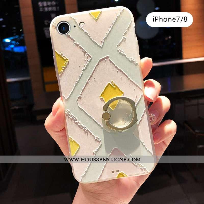Coque iPhone 7 Créatif Gaufrage Anneau Protection Délavé En Daim Incassable Téléphone Portable Verte