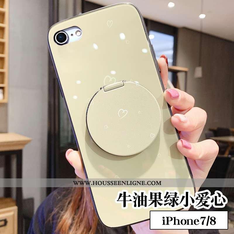 Coque iPhone 7 Créatif Tendance Frais Téléphone Portable Tout Compris Support Maquillage Verte