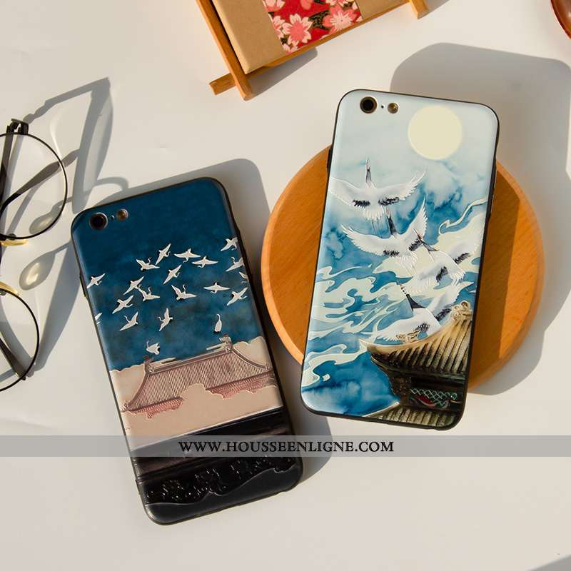 Coque iPhone 7 Délavé En Daim Créatif Étui Protection Bleu Style Chinois