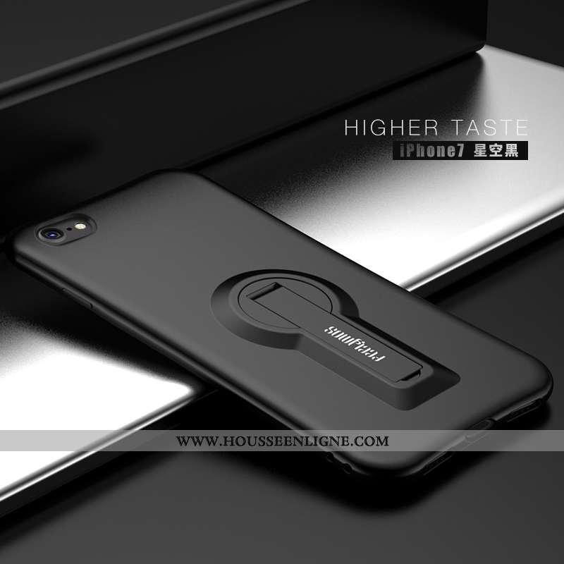 Coque iPhone 7 Fluide Doux Silicone Support Noir Tendance Protection Incassable