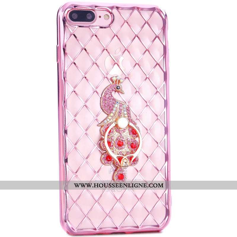 Coque iPhone 7 Plus Charmant Étui Pu Rose Téléphone Portable Anneau