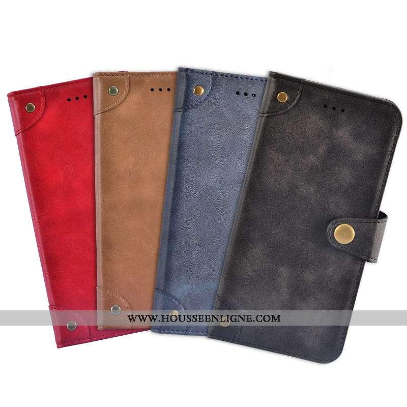 Coque iPhone 7 Plus Portefeuille Cuir Protection Rouge Téléphone Portable Carte Étui