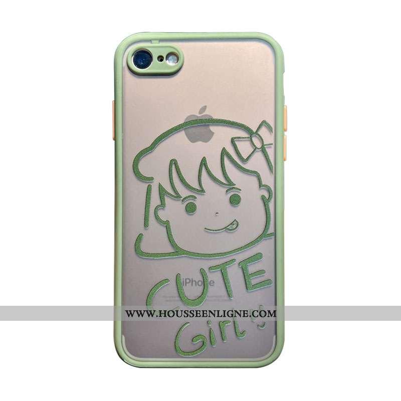 Coque iPhone 7 Silicone Transparent Téléphone Portable Net Rouge Charmant Luxe Verte