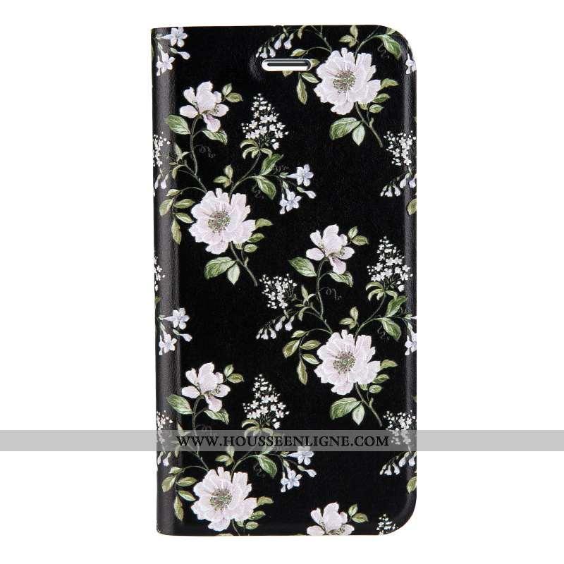 Coque iPhone 7 Tendance Cuir Étui Téléphone Portable Gaufrage Dimensionnel Incassable Noir