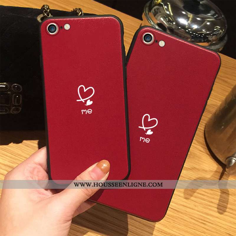 Coque iPhone 8 Délavé En Daim Tendance Amoureux Incassable Téléphone Portable Tout Compris Amour Rou