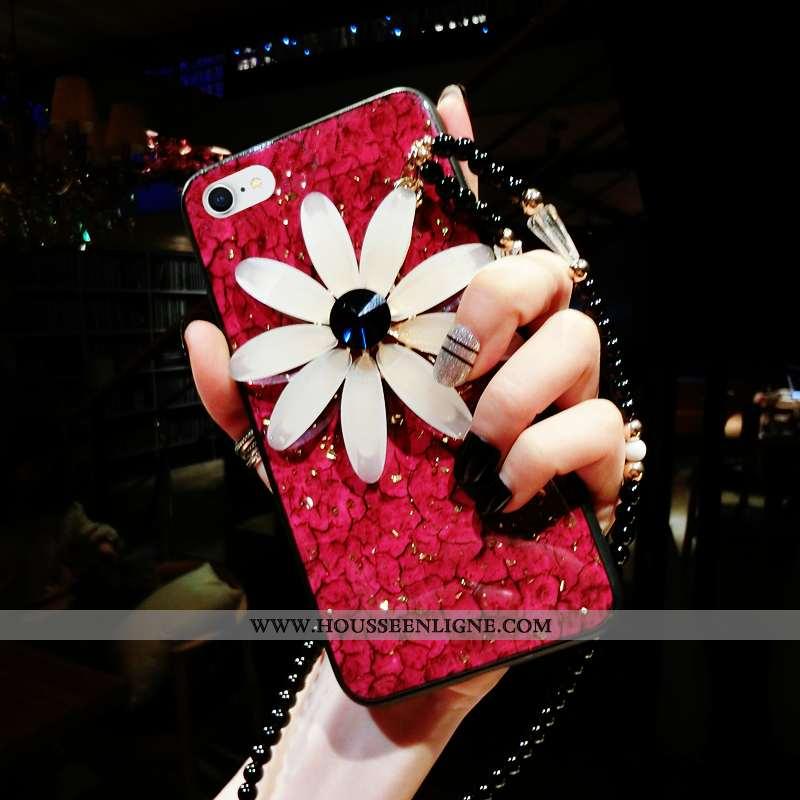 Coque iPhone 8 Ornements Suspendus Tendance Incassable Téléphone Portable Silicone Petite Marguerite