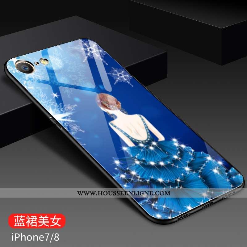 Coque iPhone 8 Personnalité Créatif Fluide Doux Tout Compris Verre Tendance Peinture Bleu
