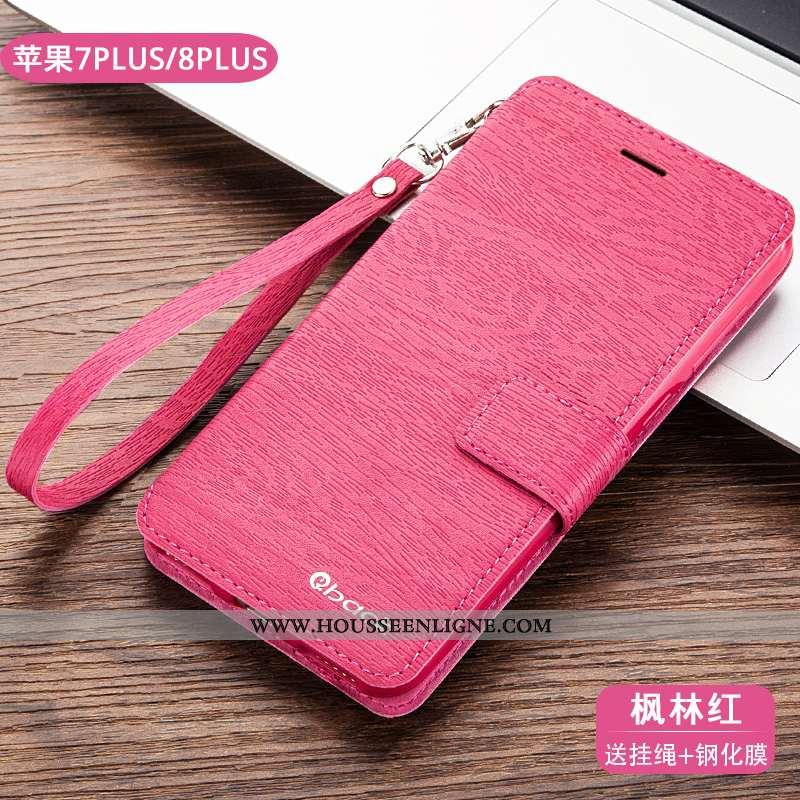 Coque iPhone 8 Plus Cuir Fluide Doux Téléphone Portable Tout Compris Silicone Protection Rose