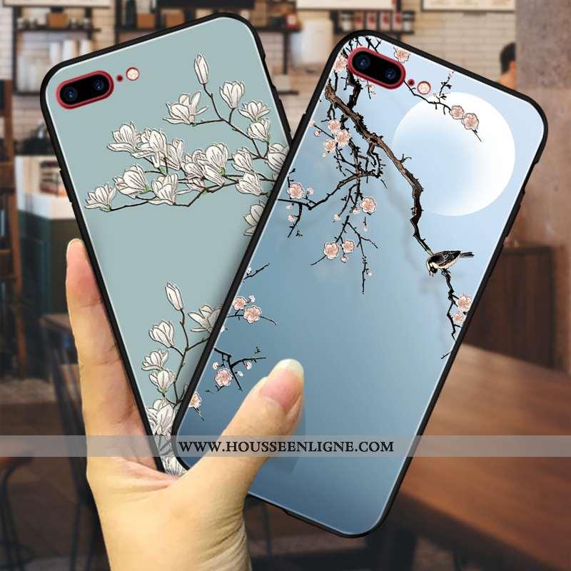 Coque iPhone 8 Plus Gaufrage Vintage Fluide Doux Téléphone Portable Luxe Fleur Tendance Bleu