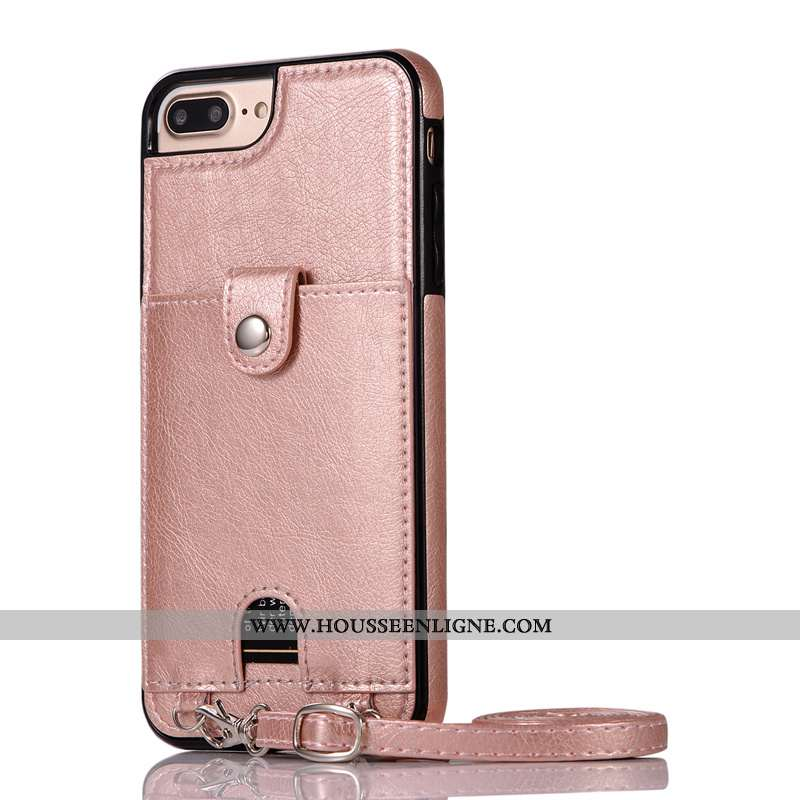 Coque iPhone 8 Plus Ornements Suspendus Cou Suspendu Rose Cuir Protection Pu