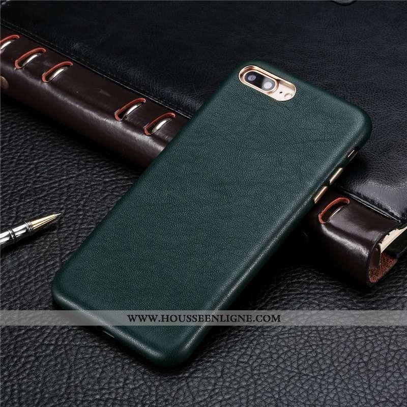 Coque iPhone 8 Plus Ultra Légère Personnalité Nouveau Cuir Tout Compris Turquoise