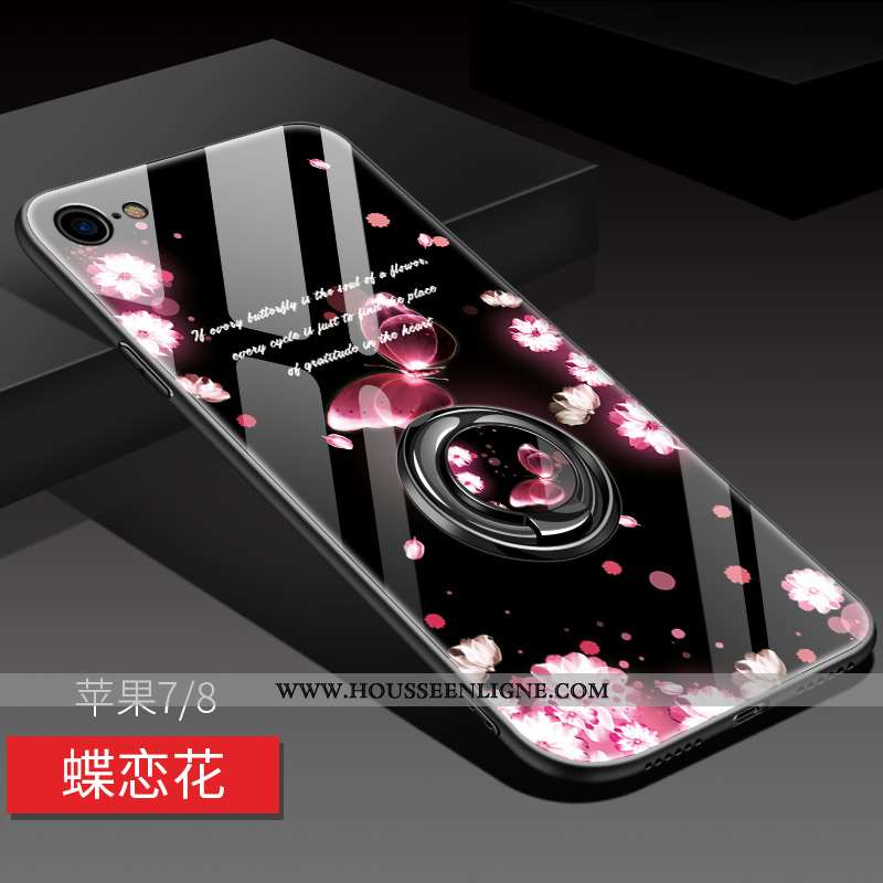 Coque iPhone 8 Silicone Protection Miroir Magnétisme Net Rouge Étui Rose