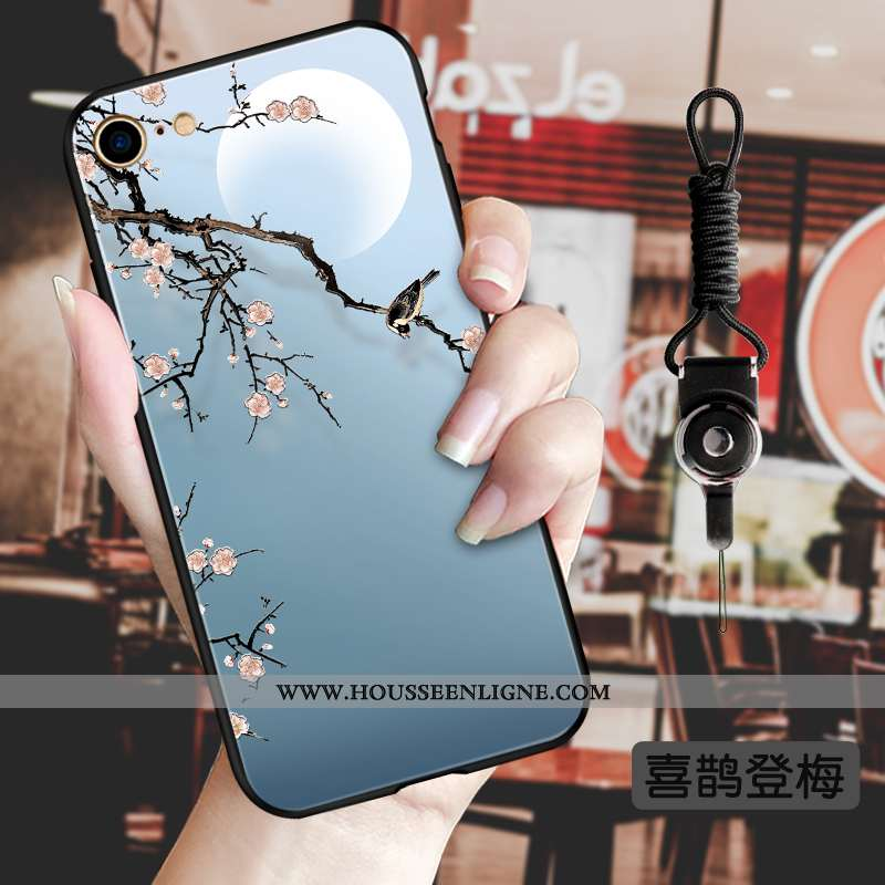 Coque iPhone 8 Silicone Protection Vent Luxe Vintage Style Chinois Incassable Bleu