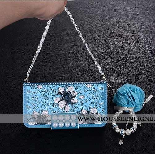 Coque iPhone 8 Tendance Cuir Incassable Bleu Simple Clamshell Net Rouge