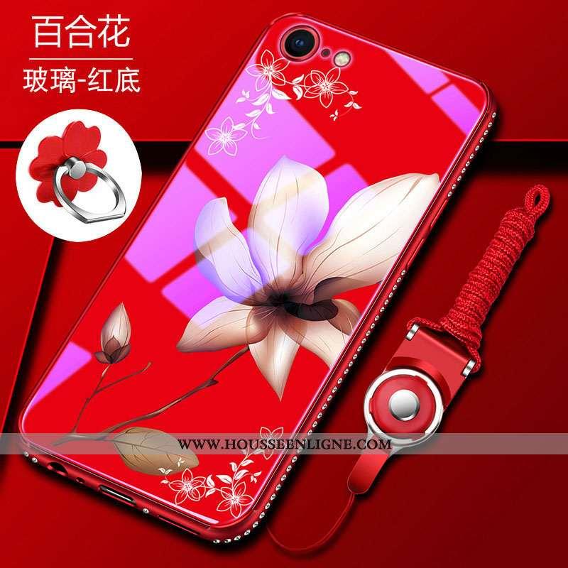 Coque iPhone 8 Verre Tendance Incassable Étui Pu Difficile Téléphone Portable Rouge