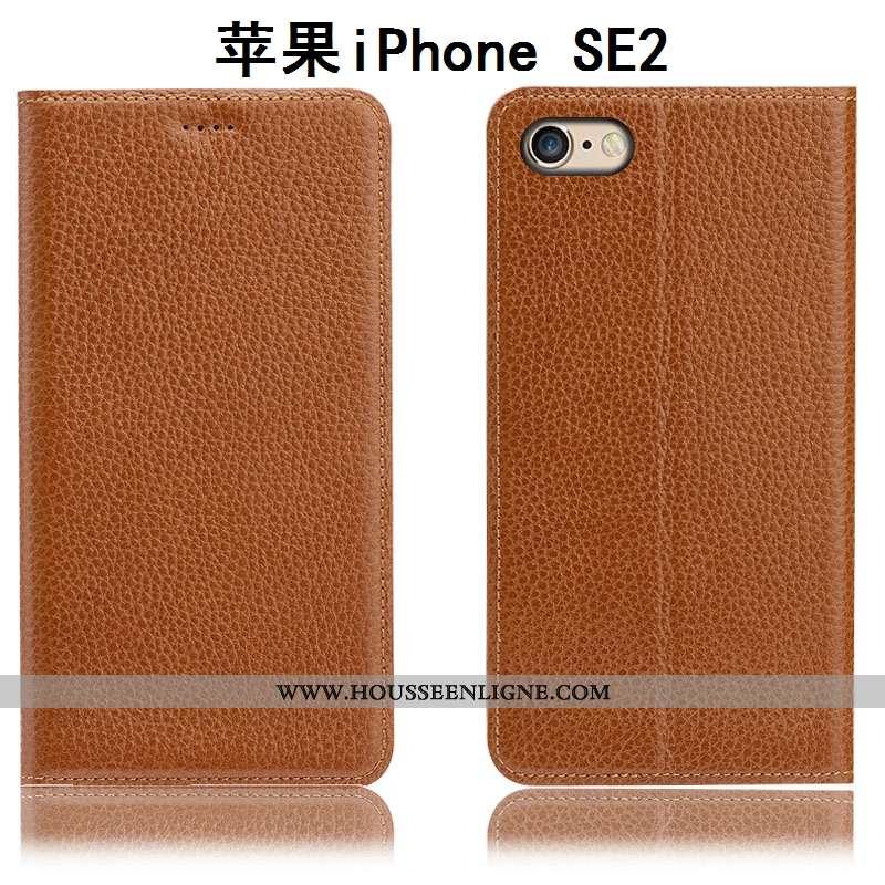 Coque iPhone Se (nouveau) Cuir Véritable Protection Nouveau Tout Compris Étui Litchi Marron
