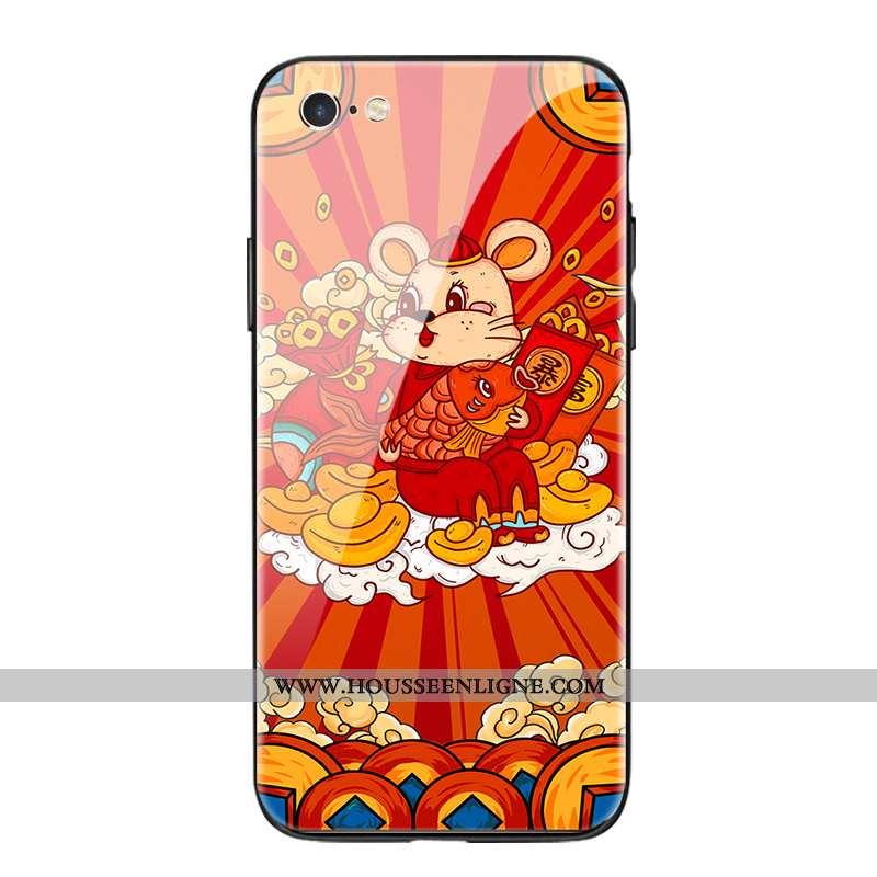 Coque iPhone Se (nouveau) Fluide Doux Silicone Rouge Incassable Richesse Verre Nouveau