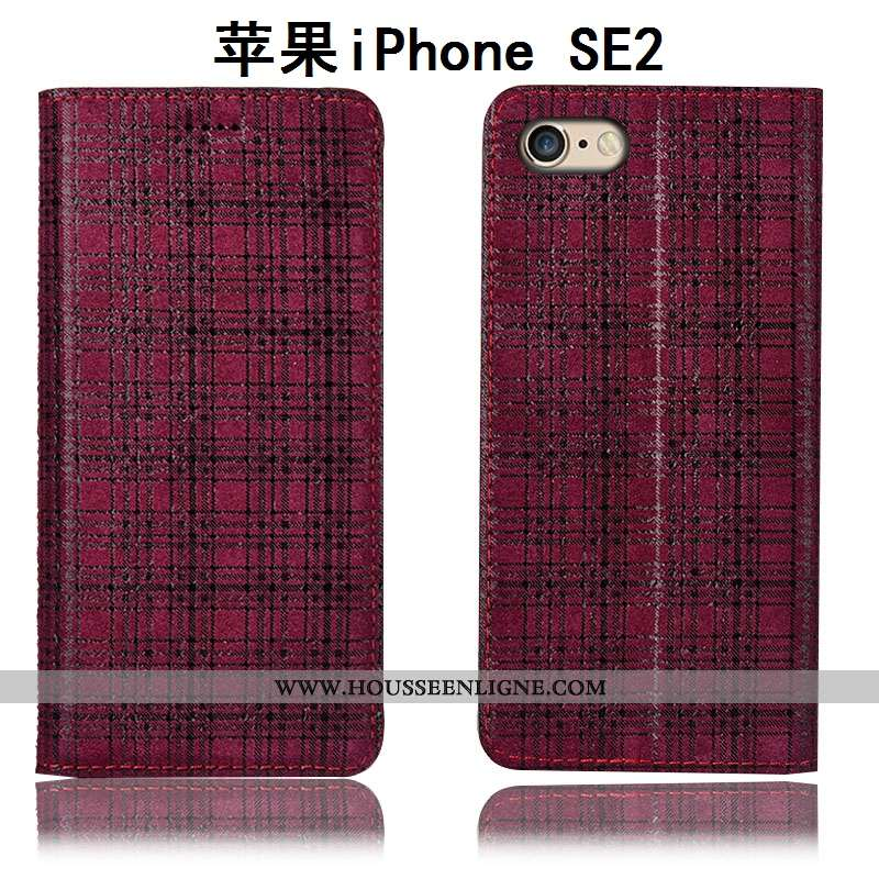 Coque iPhone Se (nouveau) Protection Cuir Véritable Étui Nouveau Téléphone Portable Tout Compris Rou