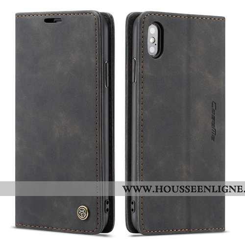 Coque iPhone X Créatif Cuir Incassable Business Téléphone Portable Noir