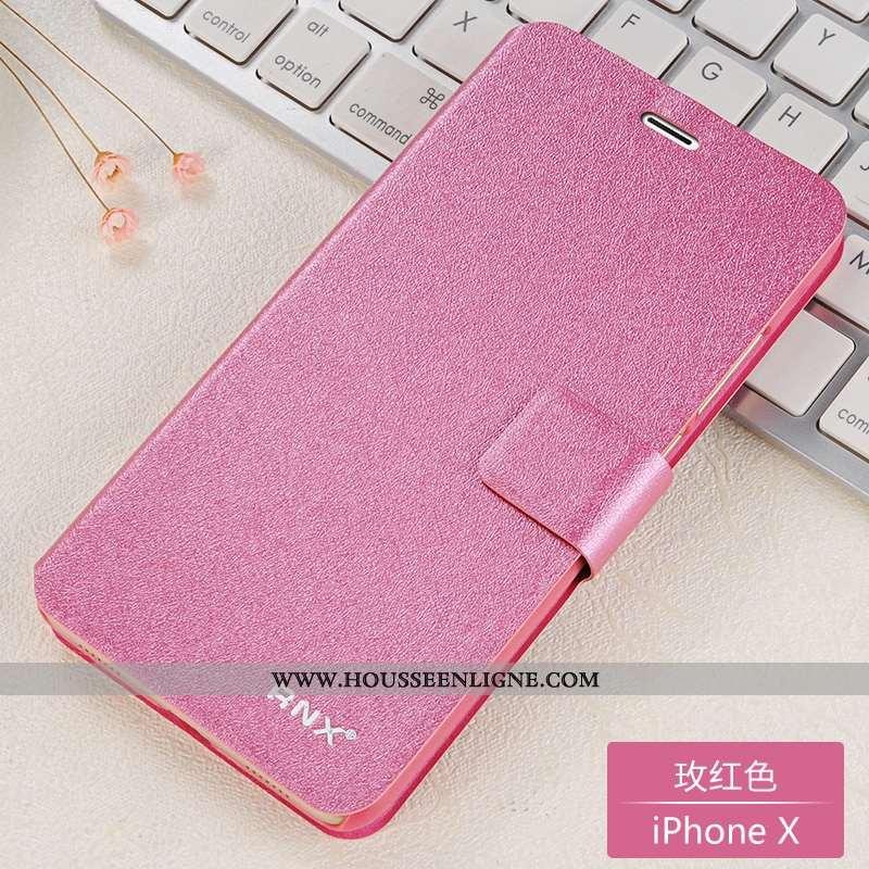Coque iPhone X Cuir Silicone Housse Étui Difficile Rouge Incassable Rose