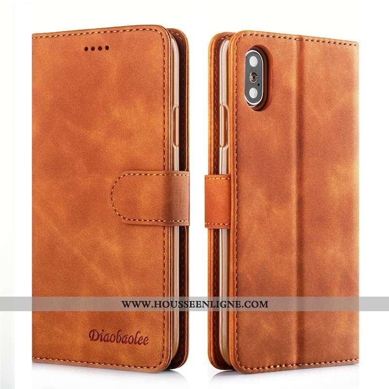 Coque iPhone X Cuir Silicone Incassable Carte Tout Compris Téléphone Portable Marron