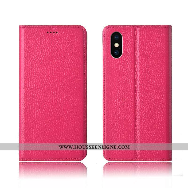 Coque iPhone X Cuir Véritable Cuir Silicone Clamshell Fluide Doux Rouge Rose