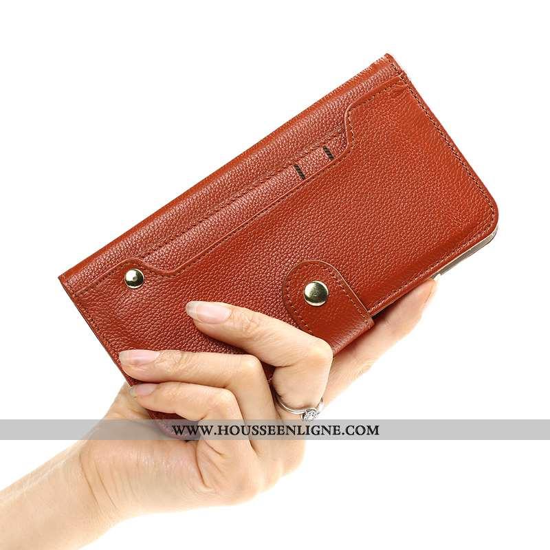 Coque iPhone X Portefeuille Cuir Carte Pochette Tout Compris Incassable Téléphone Portable Marron