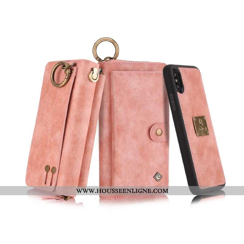 Coque iPhone X Protection Portefeuille Tout Compris Téléphone Portable Clamshell Carte Étui Rose