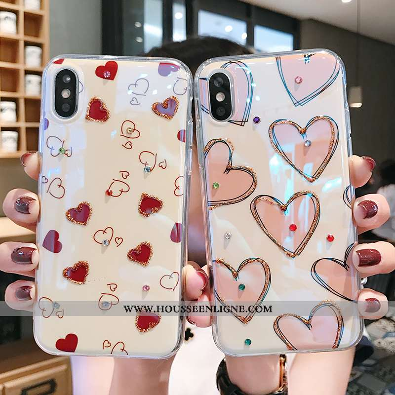 Coque iPhone X Protection Strass Fluide Doux Amour Rose Silicone Tendance Rouge