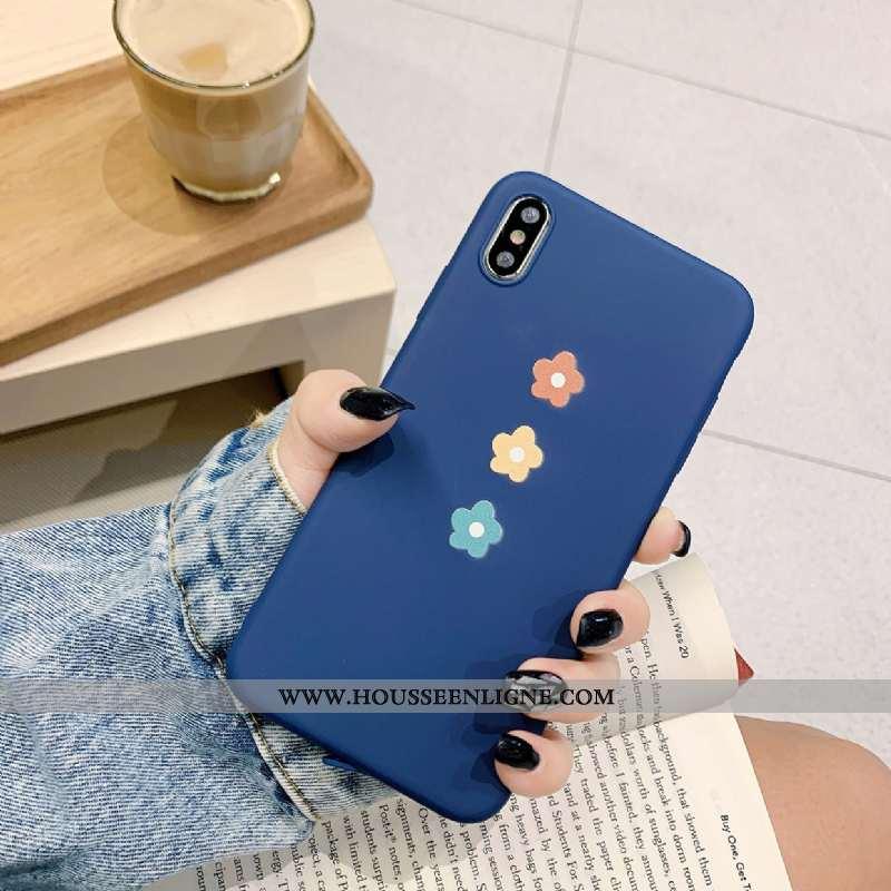 Coque iPhone X Silicone Tendance Tout Compris Téléphone Portable Fleurs Incassable Bleu