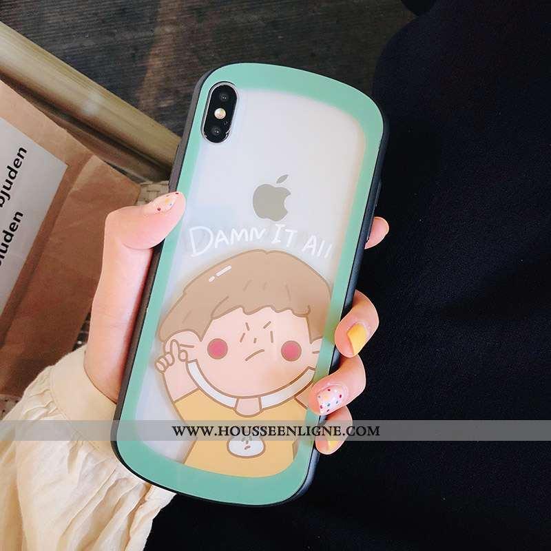 Coque iPhone X Transparent Dessin Animé Téléphone Portable Tout Compris Incassable Étui Verte