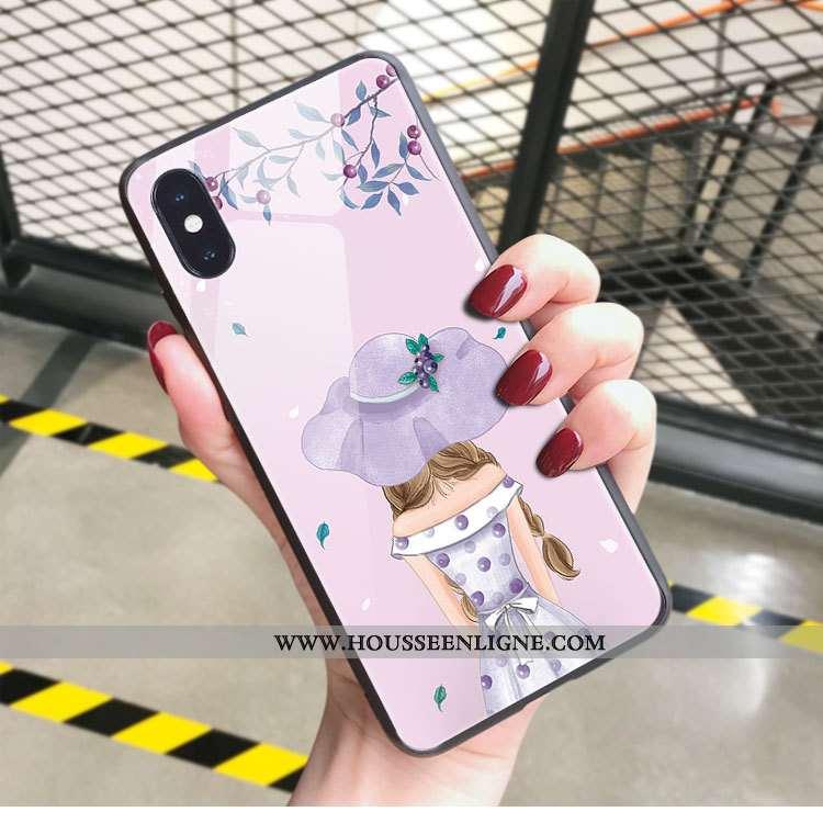 Coque iPhone X Verre Personnalité Nouveau Mode Incassable Art Net Rouge Rose