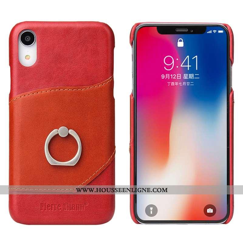 Coque iPhone Xr Accessoires Protection Support Anneau Cuir Véritable Carte Cuir Rouge