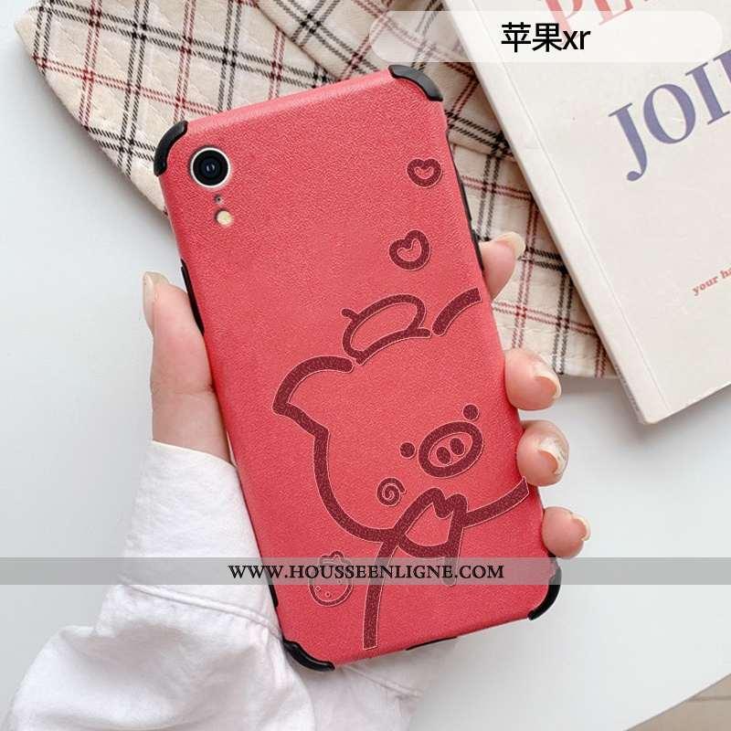 Coque iPhone Xr Créatif Gaufrage Fluide Doux Protection Incassable Modèle Fleurie Rouge