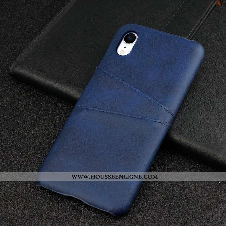 Coque iPhone Xr Cuir Mode Bordure Membrane Bleu Marin Personnalité Tempérer Bleu Foncé