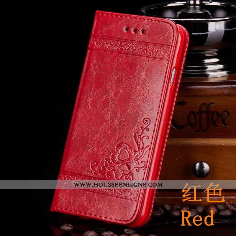 Coque iPhone Xr Portefeuille Cuir Protection Tout Compris Carte Rouge Téléphone Portable