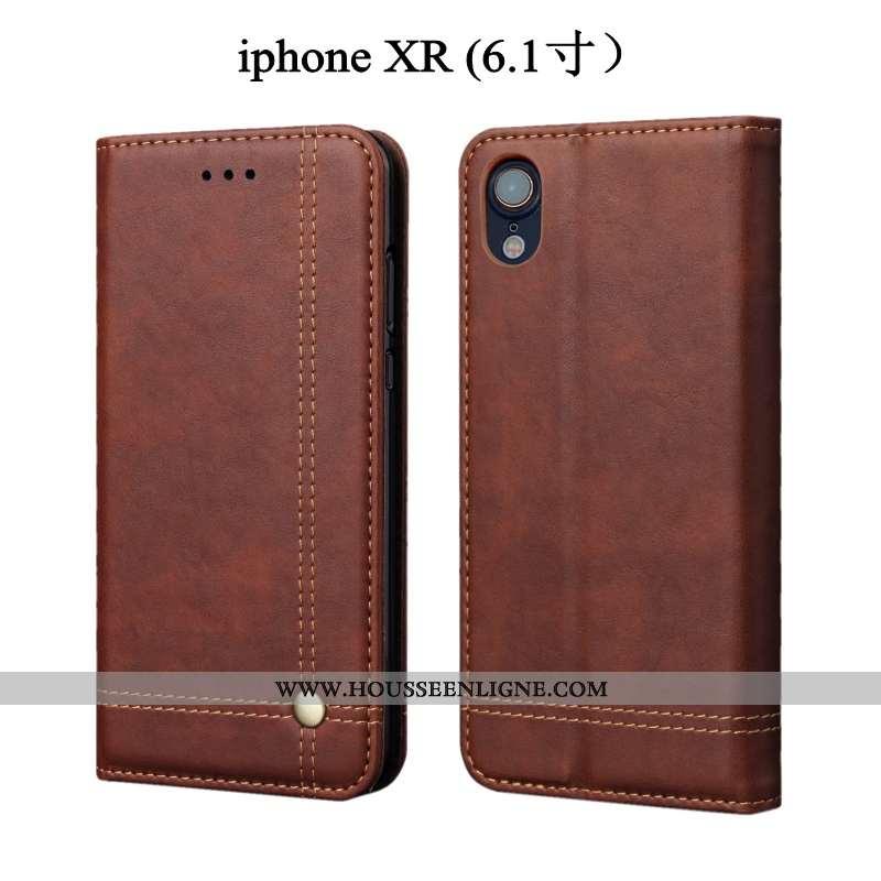 Coque iPhone Xr Protection Cuir Housse Téléphone Portable Étui Tout Compris Marron