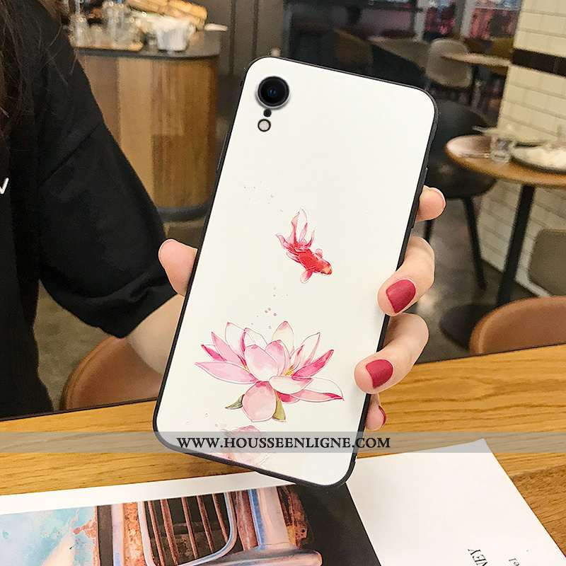 Coque iPhone Xr Silicone Délavé En Daim Incassable Gaufrage Téléphone Portable Tout Compris Tendance