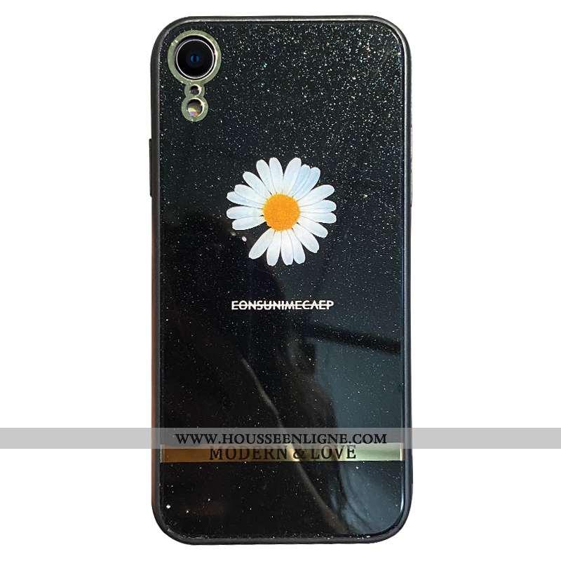 Coque iPhone Xr Tendance Légère Rose Incassable Net Rouge Frais Placage Noir