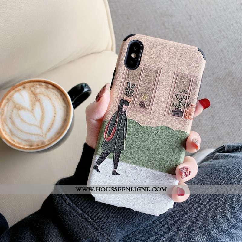 Coque iPhone Xs Gaufrage Tendance Amoureux Téléphone Portable Simple Créatif Tout Compris Rose