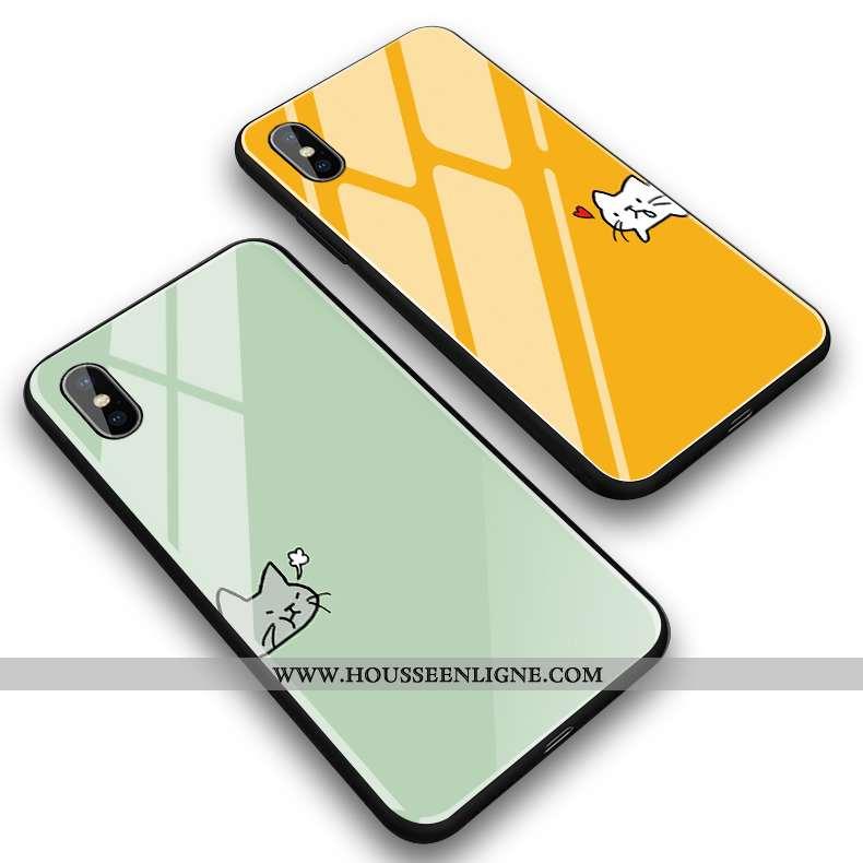 Coque iPhone Xs Max Créatif Dessin Animé Mignonne Jaune Miroir Étui
