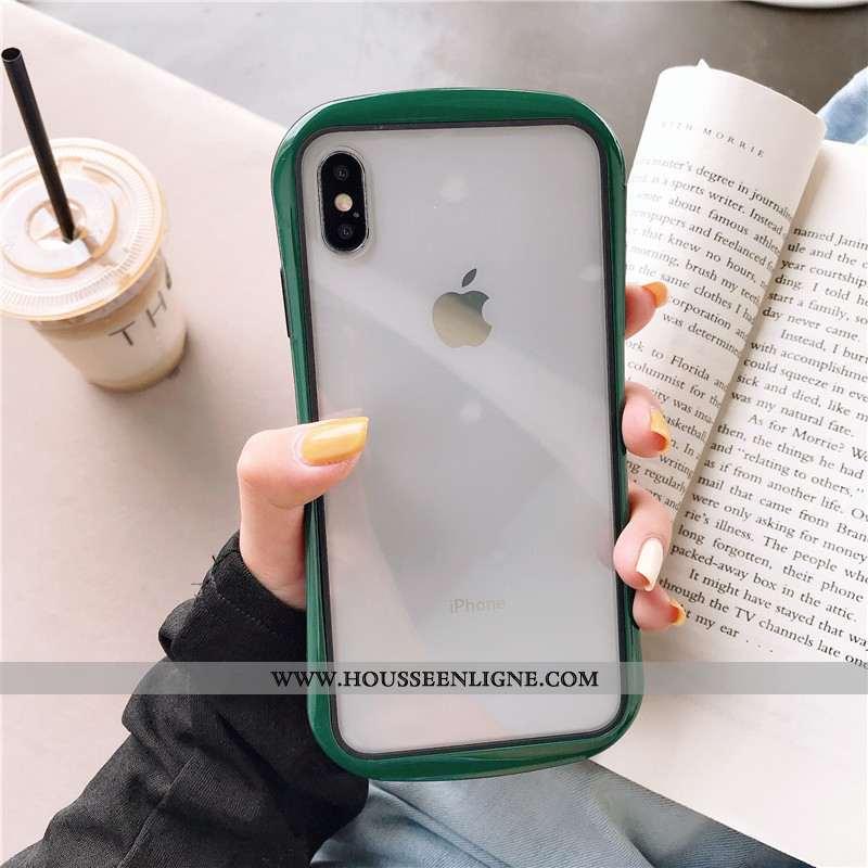 Coque iPhone Xs Max Créatif Fluide Doux Incassable Étui Protection Transparent Vert Verte