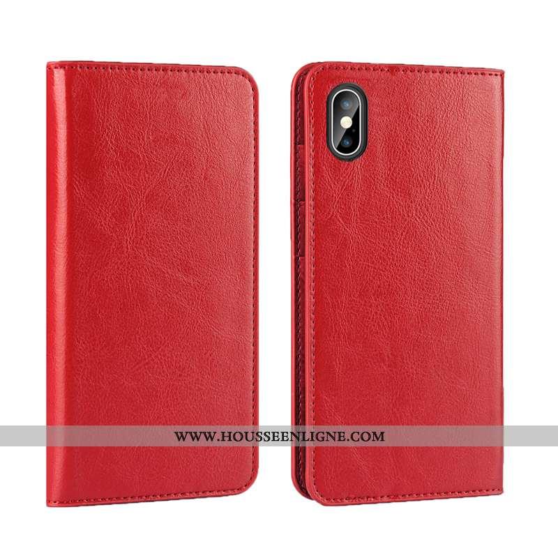 Coque iPhone Xs Max Cuir Véritable Cuir Protection Incassable Qualité Business Rouge